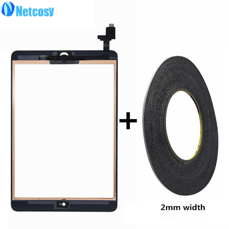 Netcosy A1432 A1454 A1455 A1489 A1490 A1491 Touch Screen Digitizer Home Button Assembly & IC conector for ipad mini 1 2&2mm tape