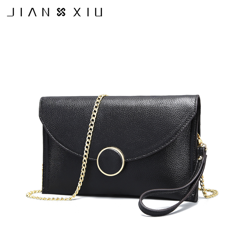 JIANXIU Brand Women Genuine Leather Messenger Bags Ladies Shoulder Bag Solid Purses Small Chain Crossbody Bags