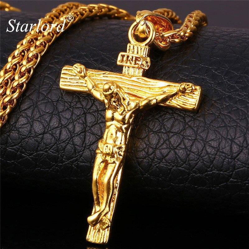 inri pieza de jesús colgante joyería cristiana regalo venta al por mayor acero inoxidable 316L/Bañado en oro real de 18K cadena collar cruz cadena de oro para los hombres P1166