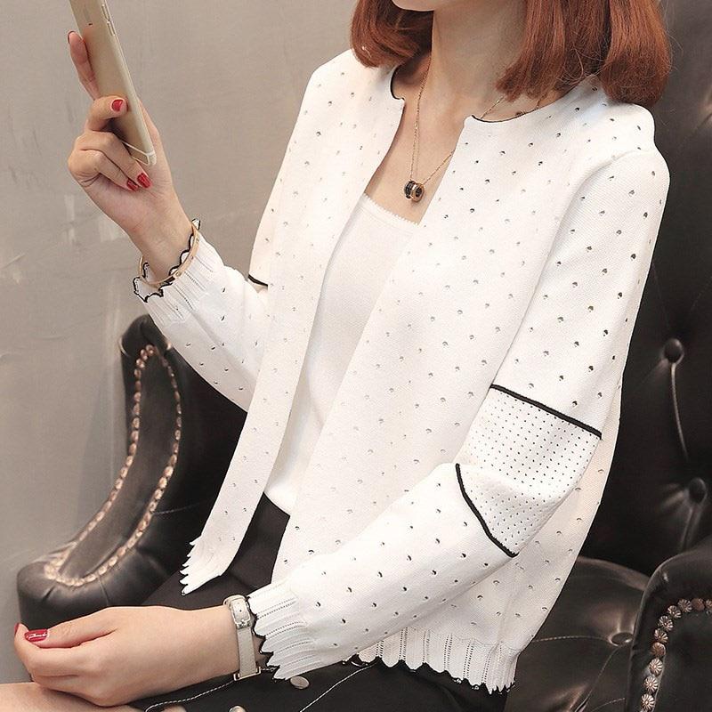 2019 Summer Girls Cardigan Fashion Knitted Short Women Causal Top Korea White Cardigans Jumper Womens Knitwear Jumper Spring