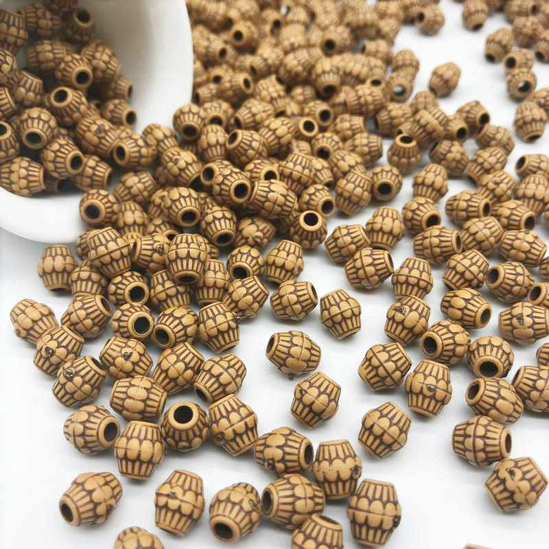 7*8mm 100pcs/Lot Cheap Hot Acrylic Beads Imitation Wood Beads Round Shape Fits For Handmade DIY Necklace Bracelet Jewelry Making