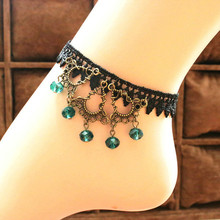 Free Shipping Fashion Female Wedding Party Ankle Bracelet Chain Foot Jewelry Retro Flower Lace Rhinestone Pendant Anklets