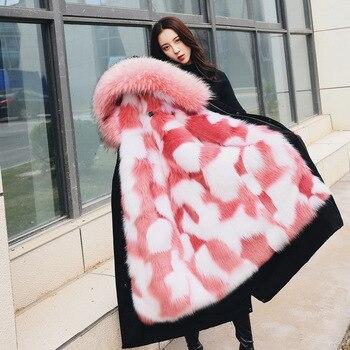 New Fashion Women Winter Clothes Hooded Coat High Imitation Raccoon Fox Fur Overcoat Women Faux Fur Coat