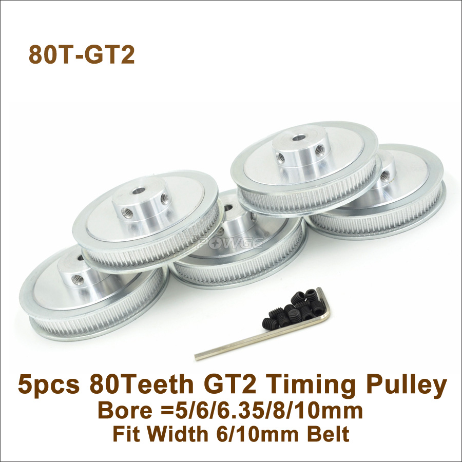 POWGE 5pcs 80 Teeth 2GT Timing Pulley Bore 5 6 6 35 8 10mm Fit W