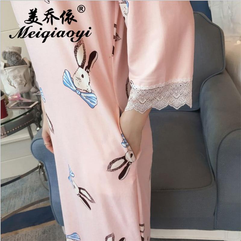 2018 spring Newest wearing loose Breathable Cartoon printing sleepwear Women fashion Three Quarter sleeve Milk Silk Nightwear