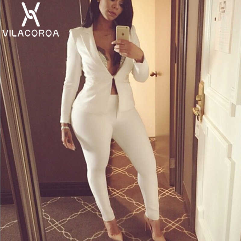 Fashion Sexy Long Sleeve Two Piece Set Women White V-Neck Single-Button Suit Jacket + Long Pant Tracksuit Women ensemble femme