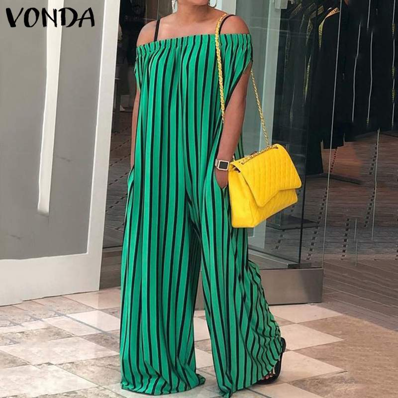 VONDA Summer Rompers Womens   Jumpsuit   2019 Sexy Off Shoulder Striped Playsuits Casual Loose Wide Leg Pants Overalls Plus Size