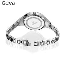 Geya Women Watches Luxury Brand Fashion Quartz-watch Rose Gold Women Dress Discolor Flower Dial Bracelet Watch Ladies Wristwatch