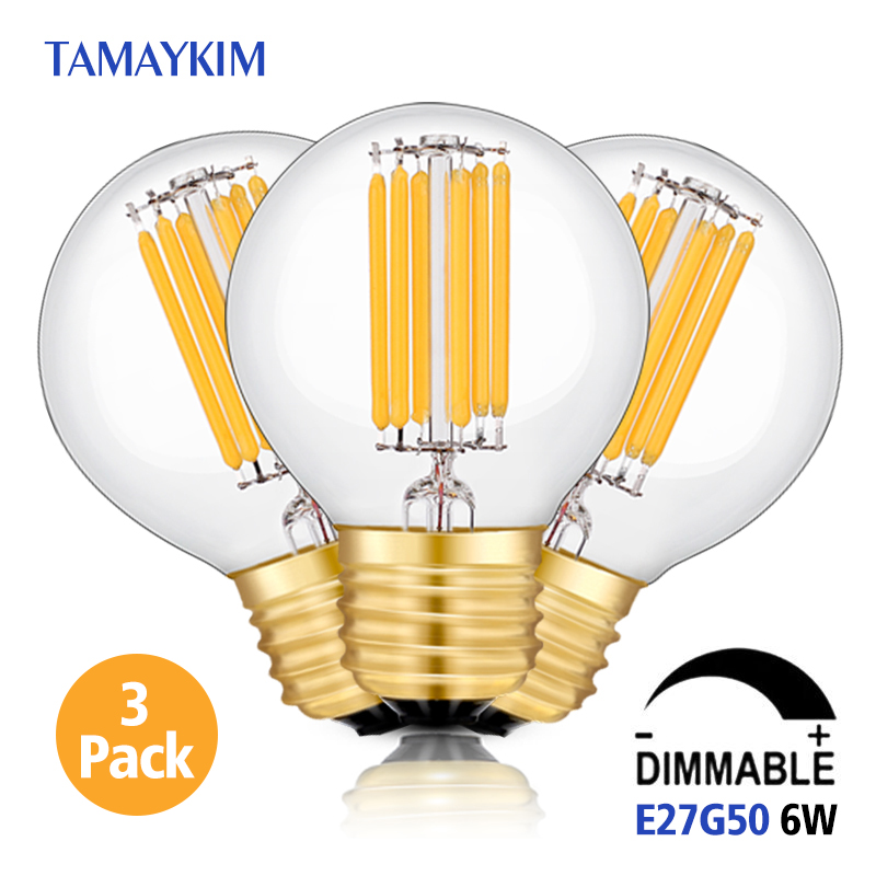 цены  Free Shipping Dimmable E27 G50 LED Vintage Filament Light Lamp,6W 220V-240V,Clear  Glass Retro Edison Bulb,Warm White,3 Pack
