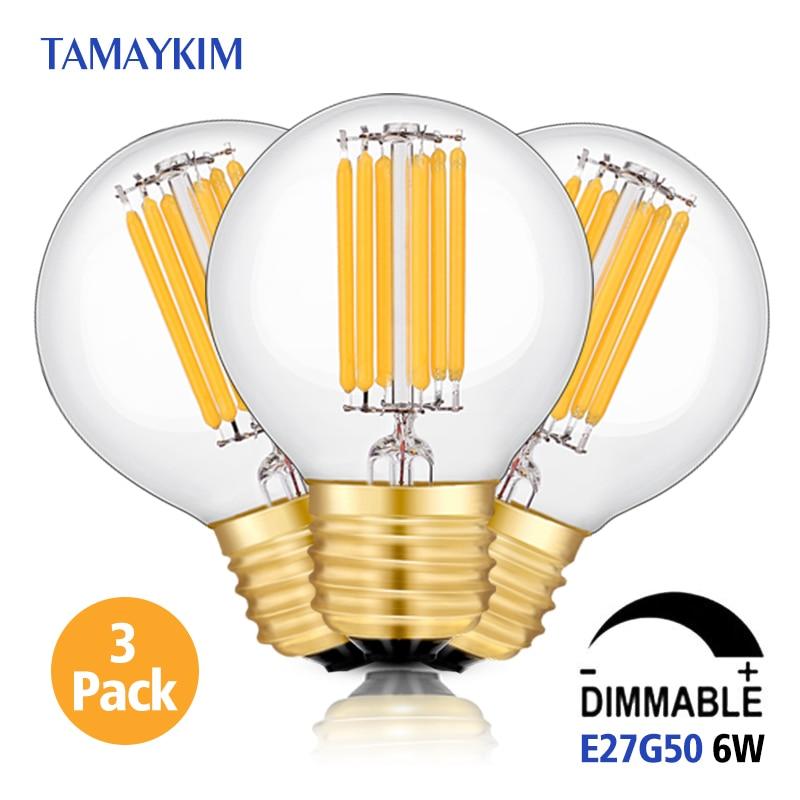 цены  Free Shipping Dimmable E27 G50 LED Vintage Filament Light Lamp,6W 220V-240V,Clear  Glass Retro Edison Bulb,Warm White,3 Pack