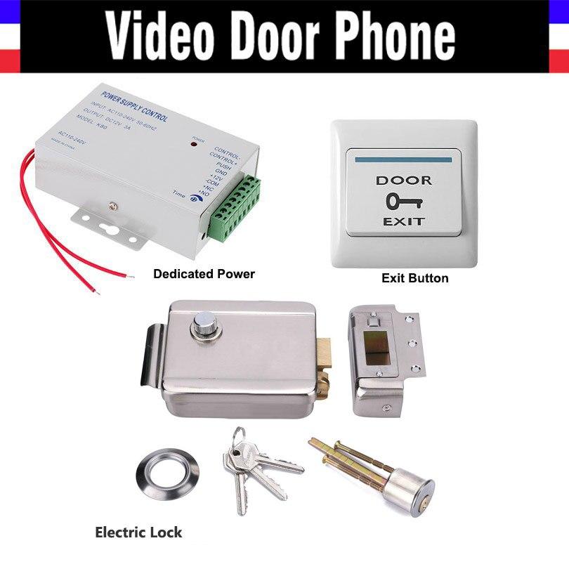 Electric Electronic Door Lock Power Supply box Door Exit Button Switch for Video doorbell Door Access