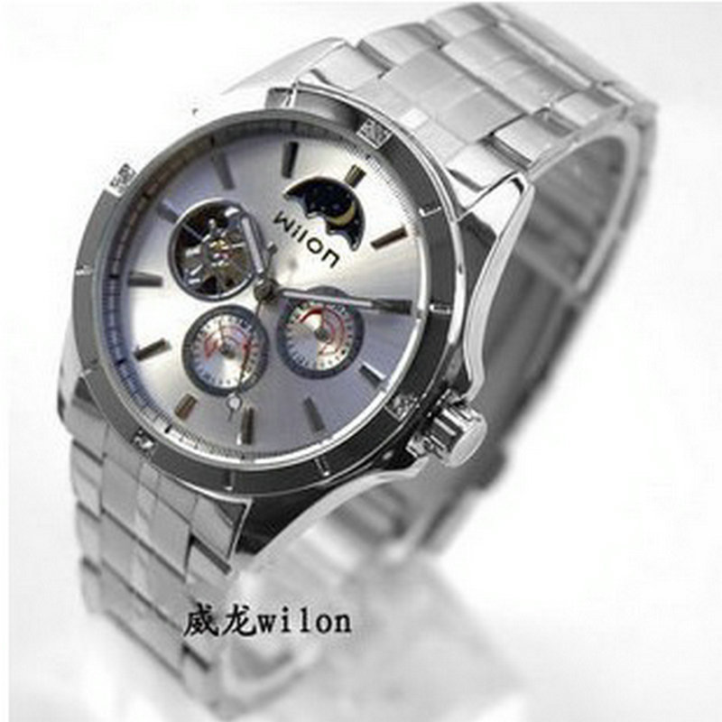 ФОТО Authentic fashion veyron hollow-out the multi-function 21:25 automatic mechanical watches European and American wind steel strip