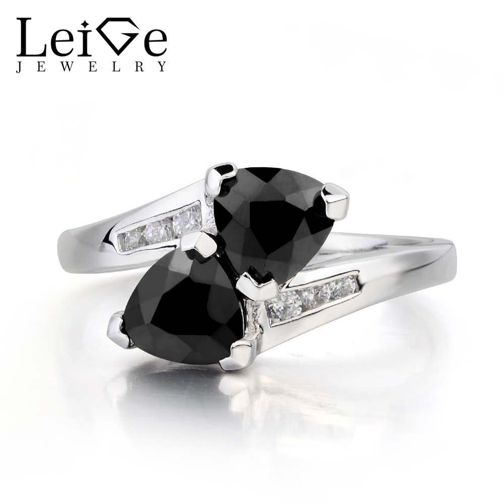 Leige Jewelry Natural Black Spinel Ring Cocktail Party Ring Trillion Cut Black Gemstone 925 Sterling Silver Ring Gifts for Women цена