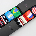 Free Shipping Men boxer shorts America England Italy Brazil national flag male cotton panties and socks gift box