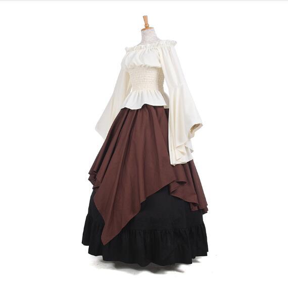 Высокое качество, средневековый костюм, масляная ткань, Длинное Макси женское платье в стиле ретро, платья Ренессанс, европейская готическая юбка с рюшами в викторианском стиле| |   | АлиЭкспресс