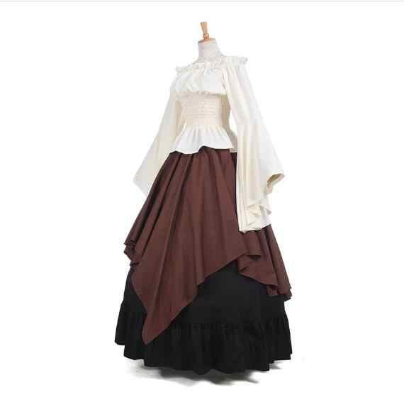 فستان نسائي طويل بتصميم عتيق من قماش النفط من القرون الوسطى لعام 2017 فستان بتصميم كلاسيكي من فساتين عصر النهضة تنورة كلاسيكية مكشكشة بنمط أوروبي قوطي