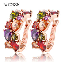 Luxury Clip Earrings Rose Gold Color AAA Cubic Zircon CZ Crystal Part For Women Fashion Jewelry