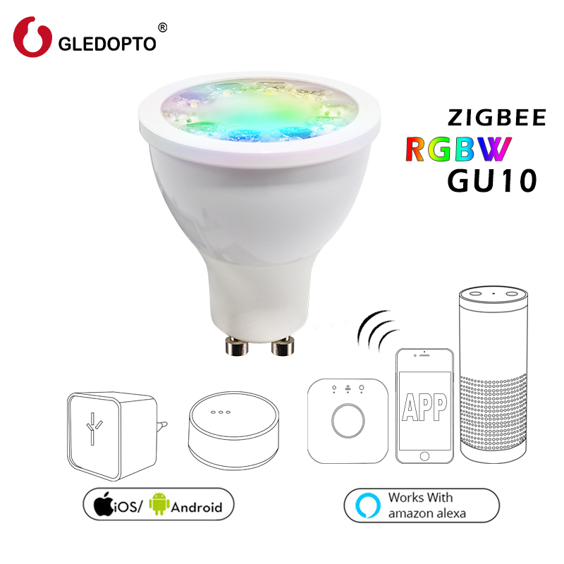 ZIGBEE lien lumière zll pont 5 w RGBW LED GU10 spotlight AC100-240V RGB smart app contrôle blanc chaud travail avec alexa ecoh plus le