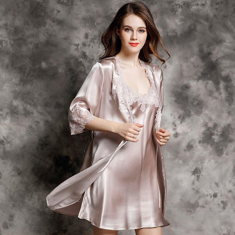 CEARPION Vrouwen Badjas Set Sexy Kant Nachtkleding 2 STUKS Slaap Rok & Kimono Bad Gown Zomer Nachtkleding Lounge Kamerjas - 3