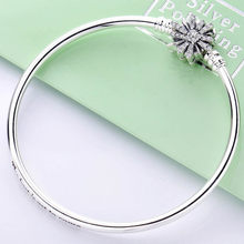 New 925 Sterling Silver Bangle Sparkling Star With Crystal Clasp Snake Chain Bracelet Bangle Fit Bead Charm Diy Original Jewelry(China)