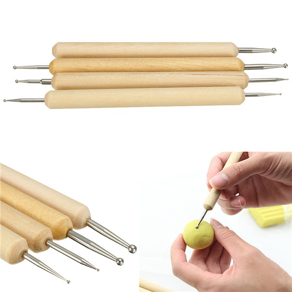 Pack Perfect 4 Ball Stylus Polymer Clay Pottery Ceramics Sculpting Modeling Handmade Tools Set A
