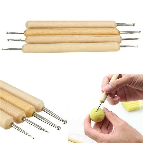 Perfect Pack of 4 Ball Stylus Polymer Clay Pottery Ceramics Sculpting Modeling Handmade Tools Set A