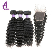 Brazilian Deep Wave Hair Weave 100% Human Hair Bundles With Closure 3Bundles With Closure Alimice Hair Non Remy Hair Extensions