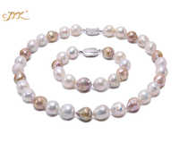 JYX Jewelry Sets Necklace Set Multicolor Freshwater Cultured Baroque Pearl Necklace and Bracelet Party jewelry Gift  AAA 18.5