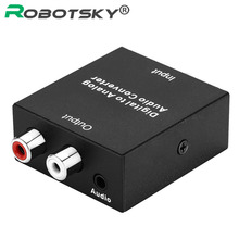 Digital To Analog Audio Converter Optic Coaxial Toslink To RCA Audio With Micro USB Power Cable