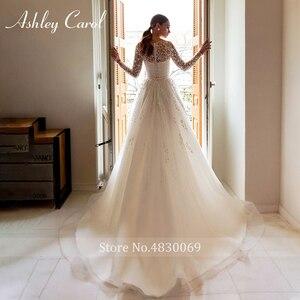 Image 2 - Ashley Carol Chữ A Áo Cưới 2020 Tay Dài Đi Biển Muỗng Lãng Mạn Đính Hạt Appliques Công Chúa Cô Dâu Đồ Bầu Đầm Vestido De Noiva
