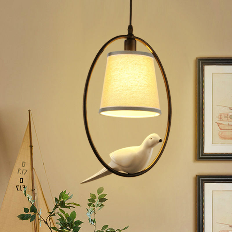 Birds lamp vintage pendant lights Kitchen fixtures resin bird E27 lamp holder fabric lampshade decorate design for dining room