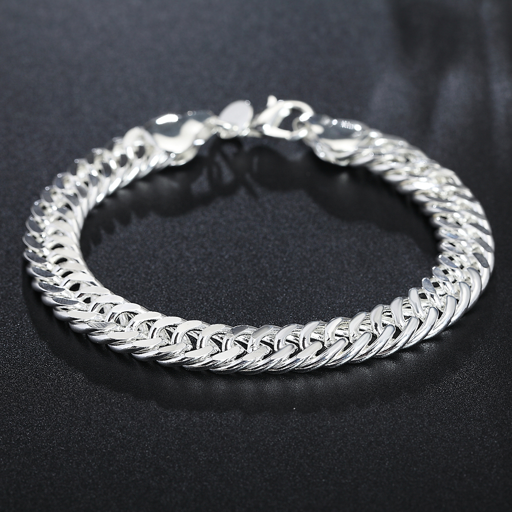 Fashion Silver Women Jewelry Wholesale 925 Sterling Silver Link Chain Bracelet for African Brazilian Mens Party Jewelry Gifts in Chain Link Bracelets from Jewelry Accessories