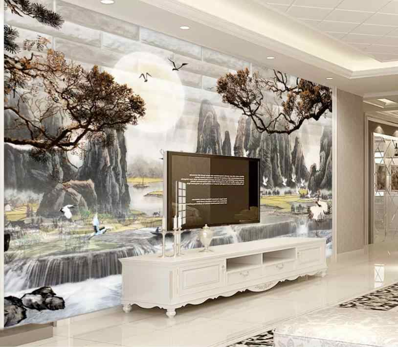 wallpaper for walls 3 d Chinese ink painting Bedroom Living Room wallpaper 3d on the wall Background wall painting