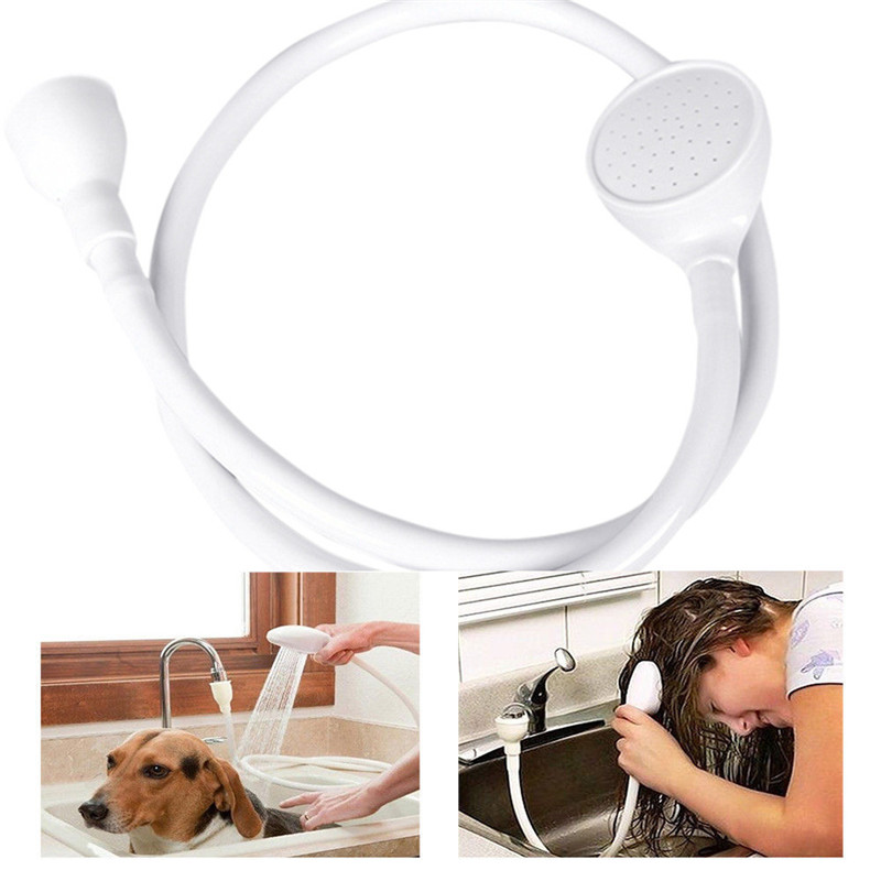 Single Wide Water Tap Shower Head Spray Hose Pet Cat dog bathing wash Sink Hose Push On  ...