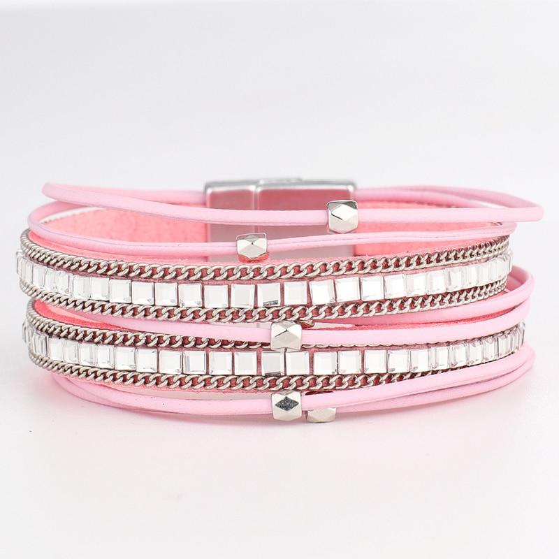 Long Leather Bracelet Bangle Bohemia Multilayer Leather Bracelet Buckle Bohemian Link Chain Jewelry BR0027
