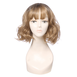 Image 4 - L メールかつら薄型空気フリンジ強打女性かつら 5 色 40 センチメートル/15.74 インチショートカーリーヒートにくい人工毛 Perucas コスプレかつら