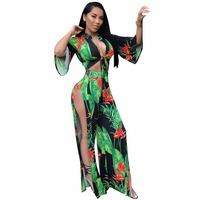 Two piece set beach print overalls crop top high split women body loose boho jumpsuit macacao feminino LM954