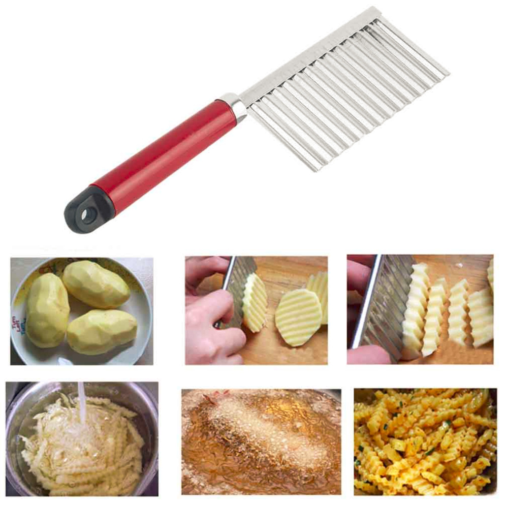 Potato wavy edged knife stainless steel plastic handle kitchen gadget vegetable