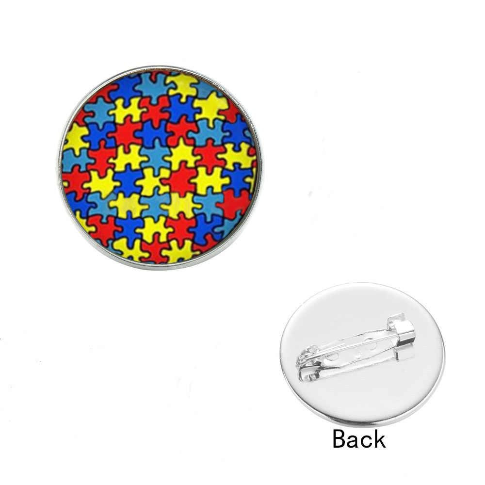 SONGDA модные Цветной головоломка, брошь с застежкой, творческий осознание аутизма вдохновение круглый стеклянный камень значки шпильки кнопка воротник ювелирные изделия