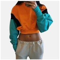 Orange Sweatshirt Crop Top Poleron Mujer 2019 Crop Pullover Hoodie Women Color Block Hoodie Sexy Stitching Long Sleeve Hoodies