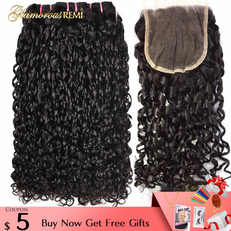 Funmi Double Drawn Remy Human Hair Brazilian 3 Bundles With Lace Closure Flexi Rod Curl Pixie Curl Kinky Curly Hair Weave