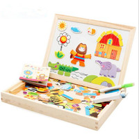 Wooden Puzzles For Children Forest Park Multifunctional Magnetic Kids Puzzle Drawing Board Educational Toys