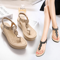 Women Shoes Sandals Flat Sandals Comfort Sandals Summer Flip Flops 2018 Fashion High Quality Black Gladiator
