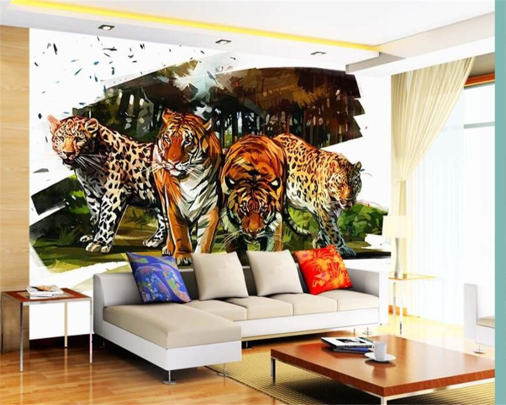 Behang Kinderkamer Jungle.Us 9 0 40 Off Beibehang Custom 3d Muurschildering Jungle Aquarel Tijger Foto Muurschildering Behang Kinderkamer Achtergrond Decoratie 3d Behang In
