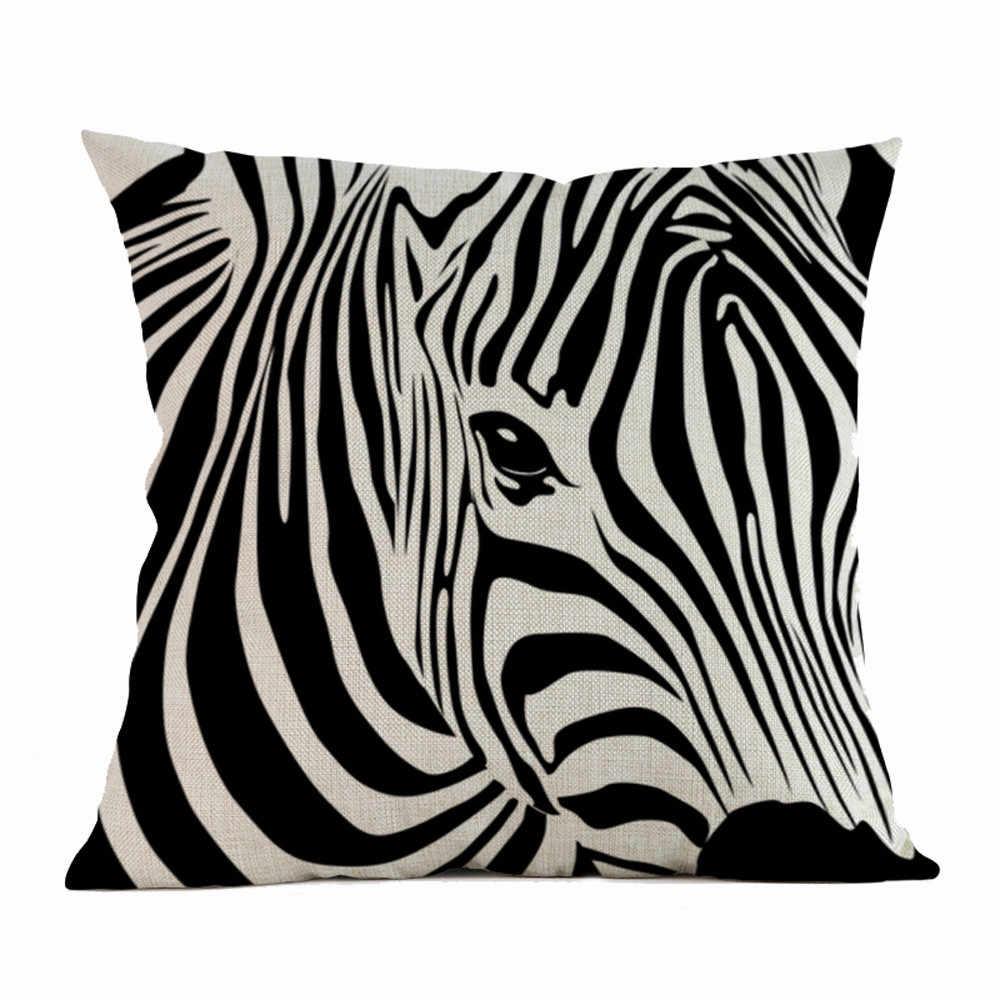 Zebra yastık minder örtüsü bitki ev dekorasyonu decorativos para kanepe Vintage Modern minder örtüsü mutlu zaman yastıklar C30518