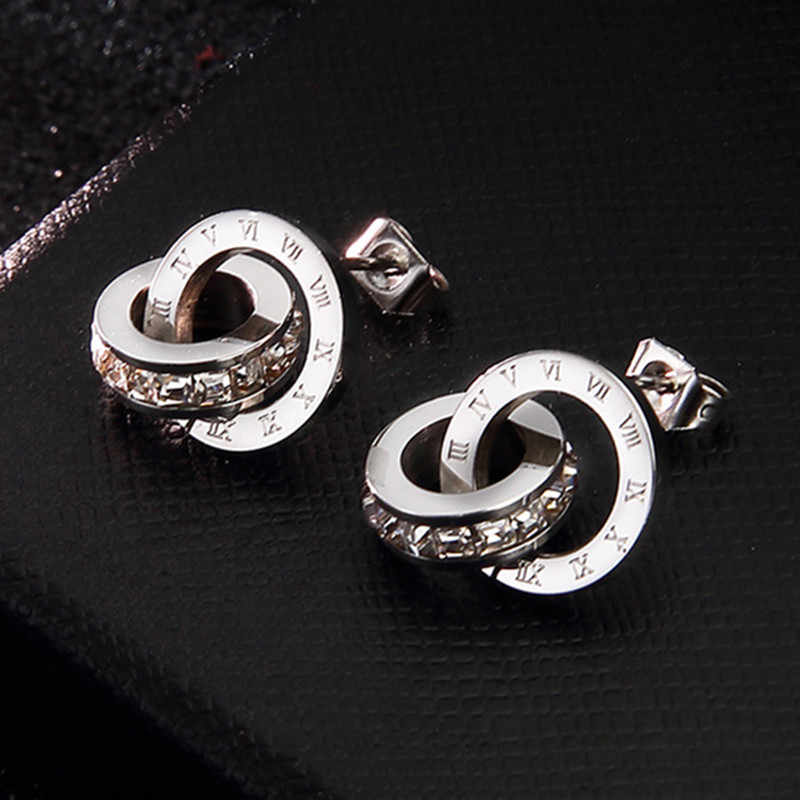 316L Stainless Steel Earrings for Women Earings Roman Number Silver Stud Earrings Round Zirconia Fashion Jewelry Brincos Boucle