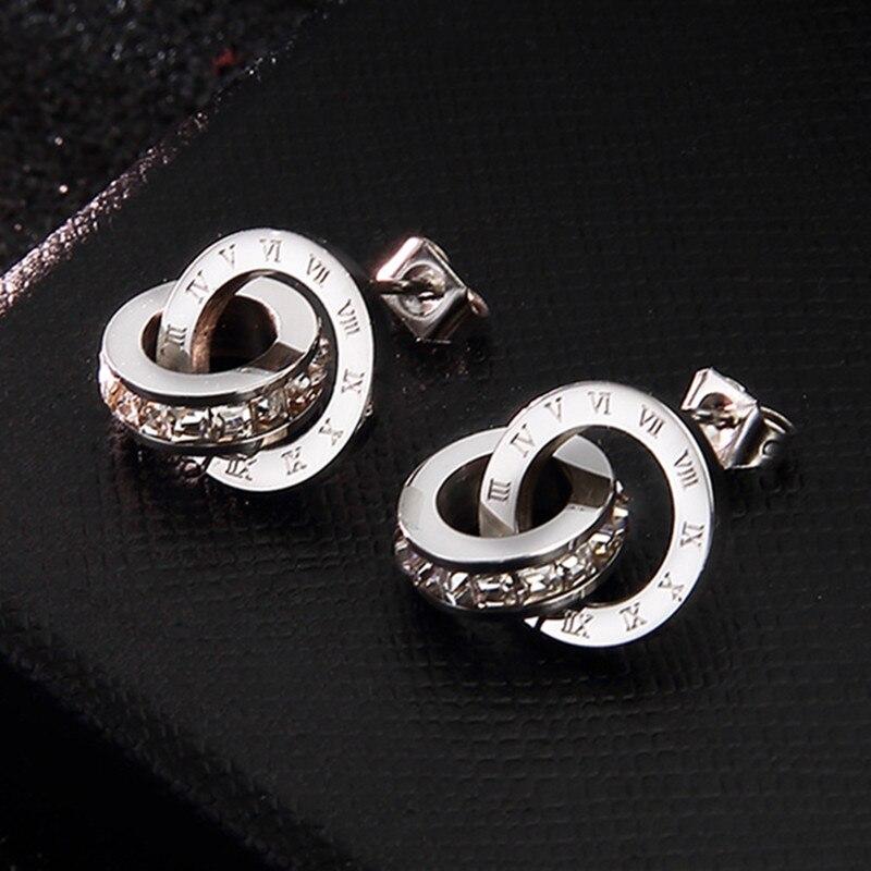 Boucles d'oreilles en acier inoxydable 316L pour femmes boucles d'oreilles numéro romain boucles d'oreilles en argent rondes zircone bijoux de mode Brincos Boucle