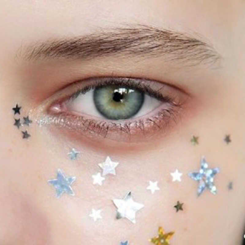 Super Chunky Eye Glitter Star/Moon/Heart Nail Face Body Eyeshadow Sequins with Glue Set Decorations Dance Party