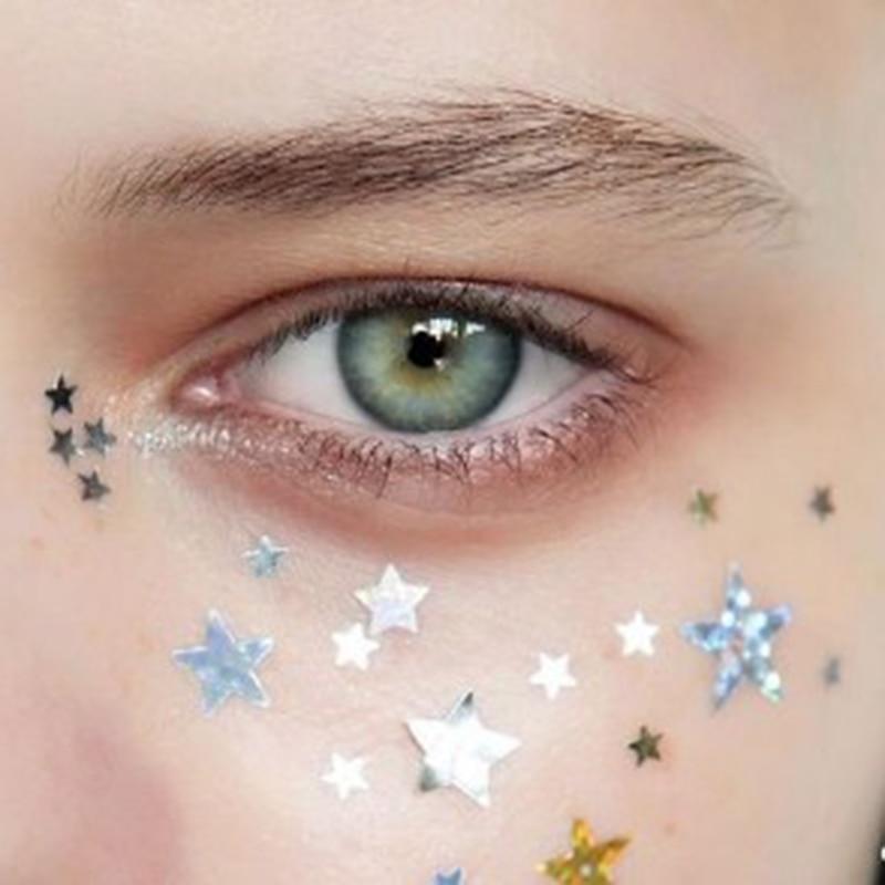 סופר עבה עיניים גליטר כוכבים/ירח/לב נייל פנים גוף צללית פאייטים עם דבק סט קישוטי ריקוד המפלגה