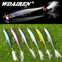 1Pcs Sinking Fishing Lure 10cm 12.5g Propeller Pencil Artificial Bait Hard Plopper Soft Feather Treble Hook Pesca Fishing Tackle